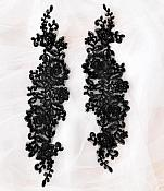 """Rose Appliques Lace Embroidered Clusters Mirror Pair Black 13"""" DH129X"""