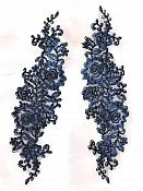 """Rose Appliques Lace Embroidered Clusters Mirror Pair Navy 13"""" DH129X"""