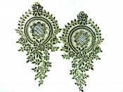 Designer Appliques Lace Embroidered Mirror Pair Black w/ Gold Costume Patch DH130X