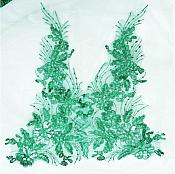 Designer Appliques Sequins Lace Embroidered Mirror Pair Hunter Green Costume Patch DH131X