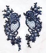 Designer Appliques Lace Embroidered Mirror Pair Navy Costume Patch DH132X