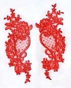 Designer Appliques Lace Embroidered Mirror Pair Red Costume Patch DH132X