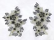 Floral Appliques Lace Embroidered Mirror Pair Black w/ Gold Costume Patch DH133X