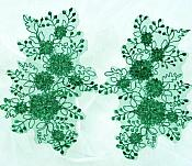 Floral Appliques Lace Embroidered Mirror Pair Hunter Green Costume Patch DH133X