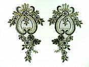 Designer Appliques Lace Embroidered Mirror Pair Black w/ Gold Costume Patch DH137X