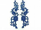 Appliques Lace Embroidered Mirror Pair Navy Dance Costume Motif DH139X
