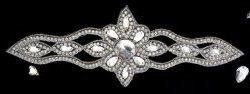 "DH14 Designer Crystal Glass Rhinestone Silver Beaded Applique 12"""