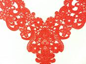 Yoke Bodice Applique Embroidered Lace Red Motif DH142