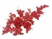 3D Applique Embroidered Lace Burgundy Dance Costume Patch DH148