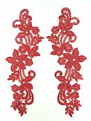 """Embroidered Lace Appliques Wine Floral Venice Lace Mirror Pair 9.5"""" (DH86X)"""