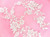 Bridal Appliques White Silver Embroidered Lace Mirror Pair Sewing Patch DH158X