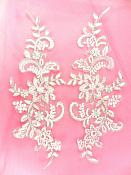 Bridal Appliques Embroidered Lace Mirror Pair White Silver Sewing Patch DH159X
