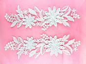 Appliques Embroidered Lace Mirror Pair Silver Dance Costume Patch DH165X