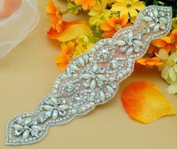 """DH17 Bridal Sash Motif Silver Beaded Crystal Rhinestone Applique w/ Pearls 8.5"""""""