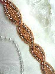 DH18 Rhinestone Trim Rose Gold Beaded Crystal Clear Stones Braided  .75""