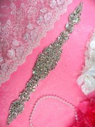"DH20 Crystal Rhinestone Applique Bridal Sash Motif Glass Beadless 14"""
