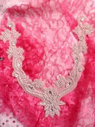 DH23 Crystal Rhinestone Neckline Collar Applique Silver Beaded Bridal Sash Patch Motif 12""