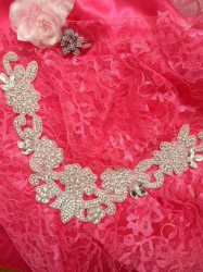 DH25 Crystal Rhinestone Neckline Collar Applique Silver Beaded Bridal Sash Patch Motif 10""