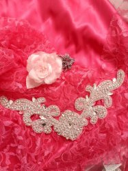 DH27 Crystal Rhinestone Neckline Collar Applique Silver Beaded Bridal Sash Patch Motif 10.5""