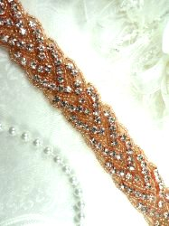 "DH32 Rhinestone Trim Rose Gold Beaded Bridal Sash (34"" long)"