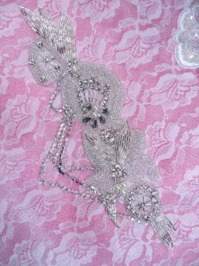 DH36 Pearl Dangle Applique Crystal Clear Rhinestone Silver Beaded Patch 9.5""