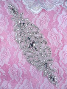 DH37 Applique Crystal Rhinestone Silver Beaded Patch 9""