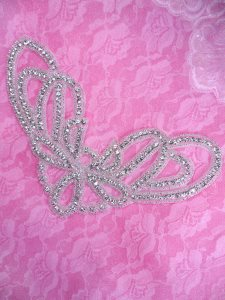 DH38 Collar Applique Crystal Rhinestone Silver Beaded Patch 8.5""