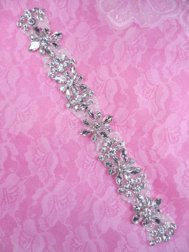 DH39 Pearl Applique Crystal Clear Rhinestone Patch 10""