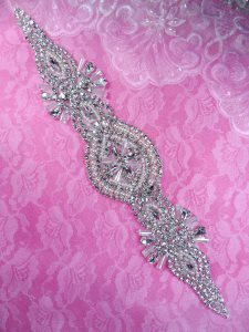 DH41 Pearl Applique Crystal Clear Rhinestone Patch 13""