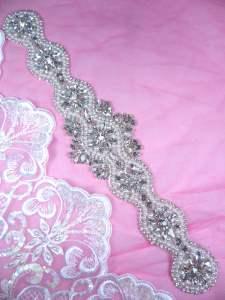 "DH42 Pearl Applique Crystal Clear Rhinestone Patch 12.5"""
