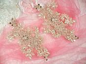 """Embroidered Lace Applique Mirror Pair Floral design accented w/ Sequins and Beads Champagne Color 7"""" (DH50)"""