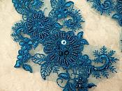 "Embroidered Lace Applique Mirror Pair Floral design accented w/ Sequins and Beads Dark Turquoise Color 7"" (DH50)"