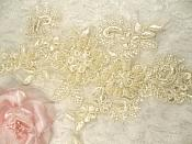 """Embroidered Lace Applique Mirror Pair Floral design accented w/ Sequins and Beads Ivory Color 7"""" (DH50)"""