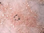 """Embroidered Lace Applique Mirror Pair Floral design accented w/ Sequins and Beads Pink Color 7"""" (DH50)"""