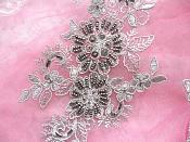 """Embroidered Lace Applique Mirror Pair Floral design accented w/ Pewter Sequins and Beads Grey Silver Color 7"""" (DH50)"""