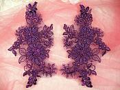 """Embroidered Lace Applique Mirror Pair Floral design accented w/ Sequins and Beads Purple Color 7"""" (DH50)"""