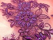 """Embroidered Lace Applique Mirror Pair Floral design accented w/ Sequins and Beads Purple Color 7"""" DH50"""