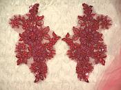 """Embroidered Lace Applique Mirror Pair Floral design accented w/ Sequins and Beads Burgundy Wine Color 7"""" (DH50)"""