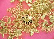 "Appliques Floral Venise Lace Gold Mirror Pair Sequin Beaded 7"" (DH50X-gl)"