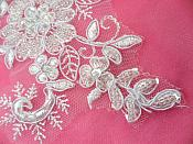 """Mirror Pair Appliques White Floral Venise Lace Beaded Crystal Sequin 7"""" (DH50X-wh)"""