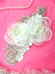 DH52 Floral 3D Applique White Satin Flower Crystal Glass Rhinestone Silver Beaded Pearl Unique Bridal Patch 7.5""