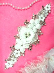DH53 Floral 3D Applique White Satin Flower Crystal Glass Rhinestone Silver Beaded Pearl Bridal Patch 9""