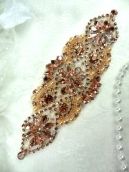 DH54 Bridal Applique Rose Gold Rhinestone Peach Beaded With Colored Pearls 6""
