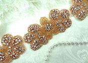"Rose Gold Flower Trim Beaded Crystal Rhinestone Floral 2"" (DH55-rsglcr)"