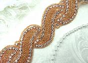 "Wave Trim Rose Gold Beaded Glass Crystal Rhinestone Bridal Banding 1.75"" (DH57-rsglcr)"
