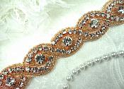 "Iron On Trim Rose Gold Beaded Glass Crystal Rhinestone Bridal Sash Banding 1"" (DH58-rsglcr)"