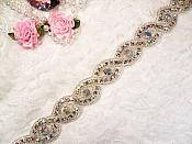 "Iron On Trim Silver Aurora Borealis Beaded Glass Crystal Rhinestone Bridal Sash Banding 1"" (DH58)"