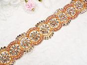 "Wide Trim Rose Gold Beaded Pearl Glass Crystal Rhinestone Iron On 2"" (DH59-rsglcr)"