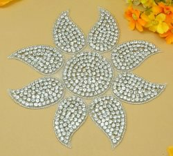 DH6 Sunshine Applique Crystal Glass Rhinestone Silver Beaded 7""