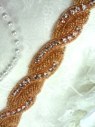 DH61 Rhinestone Trim Rose Gold Beaded Crystal Stones Braided 1""